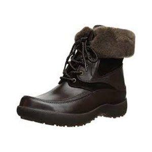 BLONDO Waterproof Genuine Leather Sheep Wool Brown Winter Boots